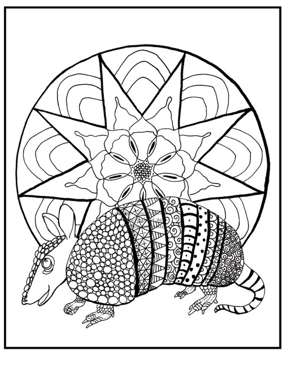 Armadillo Mandala Printable Adult Coloring Page