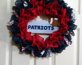 Clearance Sale-Patriots Wreath, NFL, Football Wreath, Team Wreath,Burlap Wreath