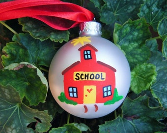 School House Ornament - Personalized Teacher Appreciation Gift - Handpainted Christmas Ornament, Bauble, Little Red School House, Preschool