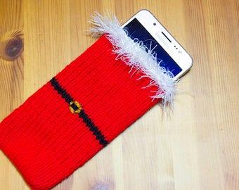 Santa Phone Sock/Case hand knitted Phone Sleeve, phone case, Smartphone, iPhone 7, Samsung Galaxy, ALL Phone Sizes