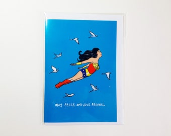 May Peace and Love Prevail – Wonder Woman Greeting Card