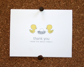 Duck Baby Thank You Cards. Baby Shower Thank You Cards. Baby Thank Yous. Personalized. Eggs in Nest (Set of 10)