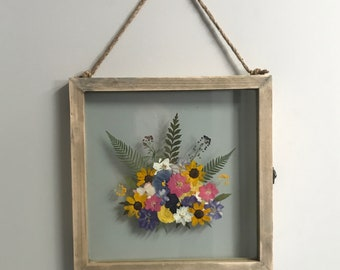 Rustic Hanging Float Frame with Beautiful Pressed Flower Collage