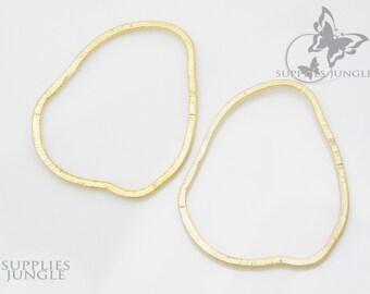 A301-01-MG// Matt Gold Plated Texture Organic Link, 4pcs