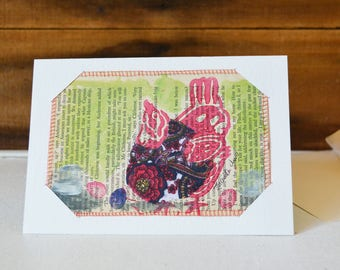 Postcard and Card 2-in-1 Chicken in ultraviolet Paisley vest - Small Mixed Media Art Print on Vintage book Upcycled wall art