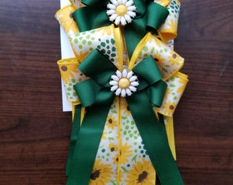 Yellow & Green Sunflowers Equestrian Show Bows (Grand Champion Size)