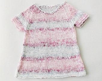 Knitted dress, handmade dress, baby dress, cotton dress, girl dress, summer dress, pinafore dress, pink dress, light blue dress. Gift idea.