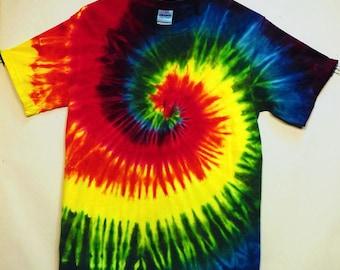 Tie Dye Rainbow Spiral Short Sleeve T-shirt