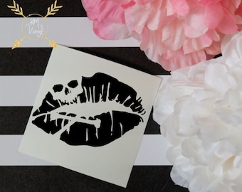 Skull Lips Vinyl Decal, Laptop Decal