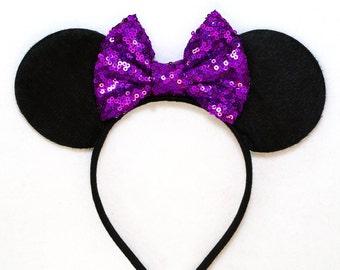 Minnie Mouse Ears Purple Sequin Bow - Daisy Duck Bow Mickey Mouse Ears Disney Ears Sequin Minnie Mouse Headband Mickey Ears Minnie Ears