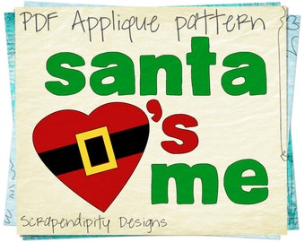 Santa Applique Pattern - Christmas Applique Shirt Template / Word Applique Design / Santa Baby Applique Quilt / Kids Toddler Clothing AP65-D