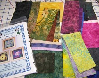 Blume-Trilogie - 3 Designs in 1 - Art Quilt Pattern Kit