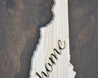 "New Hampshire State Wood Cutout ""Home"""