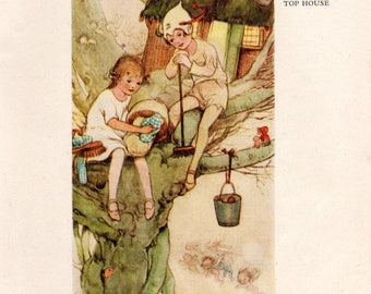 """Vintage Art Print by Mabel Lucie Attwell c1920s """"Spring-Cleaning the Tree-Top House"""" Book Plate"""