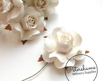 6 Small Paper Roses for Millinery, Headress & Tiara Making - Ivory