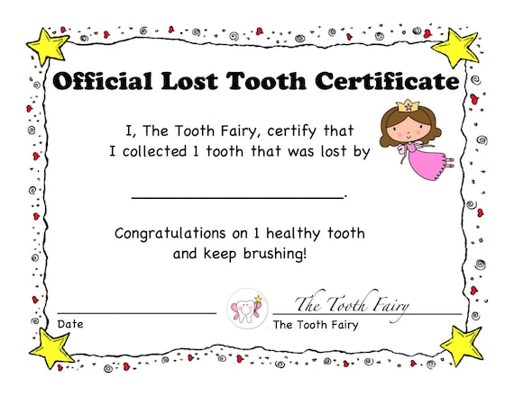 1st Lost Tooth Certificate and Letter Tooth Fairy Children