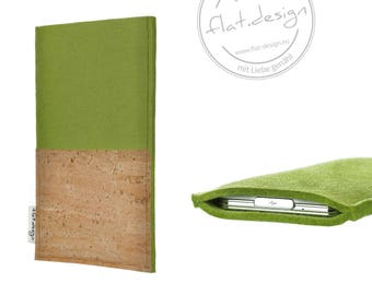 "iPad case EVORA with cork bag (light green) - hand-made for ALL iPads - iPad Pro (10,5""), iPad Pro (12,9""), iPad 2017, iPad mini 4"