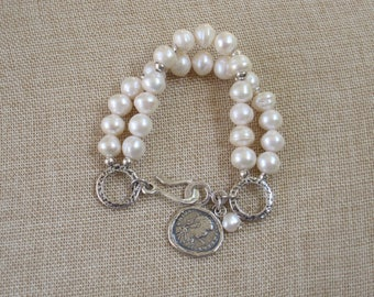 Gorgeous two strand FRESHWATER PEARLS BRACELET