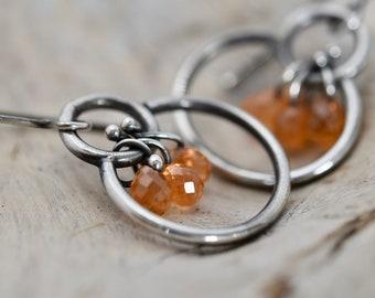 Perfect trio of Mandarin Garnet drops on small hoop-hoop sterling silver earrings Artisan Jewelry