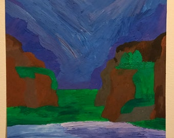Blue and Purple Sky and Lake Original Oil Painting