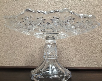 PRESS GLASS CAKESTAND, Press Glass Pedestal Plate, Small Cup Cake Stand, Clear Glass Cake Plate
