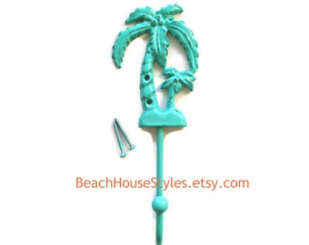 Palm Tree Hook, Cast Iron DEEP Wall Hook, Available in 21 Colors, Two Finishes, Coastal Beach House Tropical Decor, Island Style Cottage
