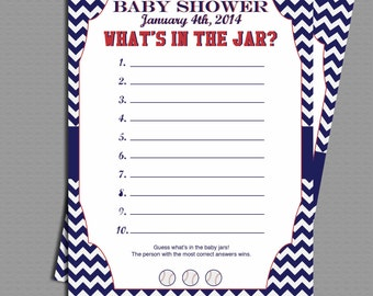 Chevron baseball baby shower What's In The Jar Game Printable File.