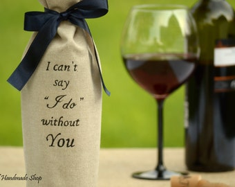 Bridesmaid Proposal Gift Wine Bottle Bag, Maid of Honor Gift, Bridesmaid Invitation Gift, Bridesmaid Favor Bag