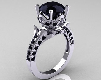 Classic French 10K White Gold 3.0 Carat Black Diamond Solitaire Wedding Ring R401-10KWGBD