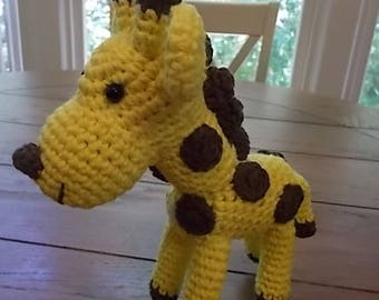 Hand Crocheted Amigurumi Giraffe Soft Toy