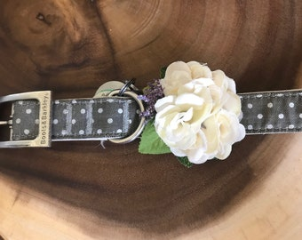 Cream Rose Dog Collar Bow (M/L)