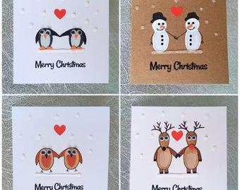 Handmade Christmas Cards - CHOOSE ANY 3 - Penguin - Reindeer - Snowman - Robin