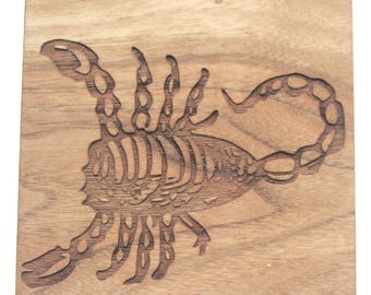 Wall art Scorpio Ancient zodiac sign Etched image on butternut Medieval wall decor