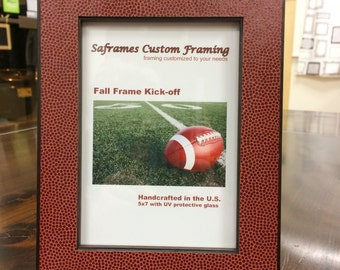 Football Photo Frame/ Wood and Football Fabric Photo Frame/ Football play-offs/ Super Bowl Host gift