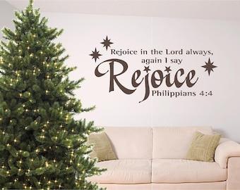 Christmas bible verse wall art, Rejoice