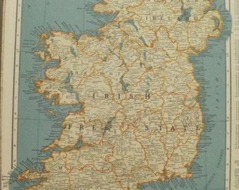 Irish free state map etsy irish free state mapnorthern irelandcork ireland mapdenmark and iceland map gumiabroncs Choice Image