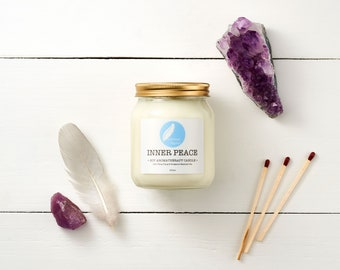 INNER PEACE Soy Aromatherapy Candle (300ml) with Bergamot and Ylang Ylang essential oils. 100% natural. Vegan. Cruelty free.