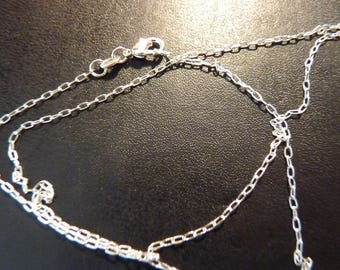 Beautiful chain Silver 925 thin elongated 1 mm 925 sterling silver with clasp (46cm)