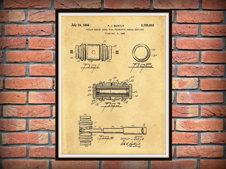 Patent 1956 Gavel Patent - Art Print - Judge Wall Art - Court Gavel ...