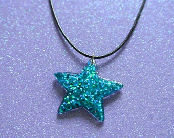 Blue Glitter Holographic Star Necklace / Kawaii Cute Space Fairy Kei Resin Pendant Black Waxed Cord