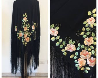Vintage Hand Embroidered Shawl - Silk Shawl with Fringes