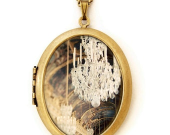 Photo Locket - The Secret History- Paris Versailles Chandelier Photo Locket Necklace