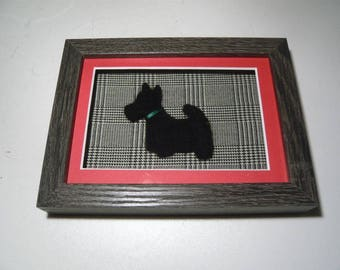 Needle felted Scottie Dog on Prince of Wales check in Box Frame