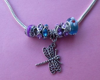 Clearance ~ Dragonfly and Crystal European Style Necklace