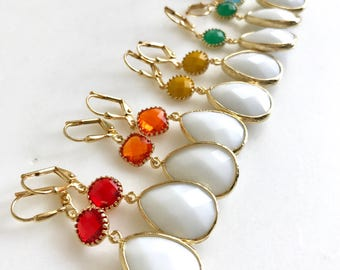 Colorful Dangle Earrings in Gold. Drop Earrings. Red Orange Yellow Green and Blue Dangle Earrings. Summer Jewelry. Gift Ideas for Her.