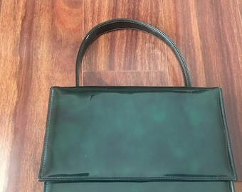 Vintage Green Patent Leather Box Purse