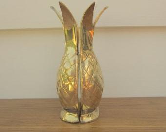 Brass pineapple centerpiece vase.  Pineapple bookends.  Brass pineapple welcome decor.