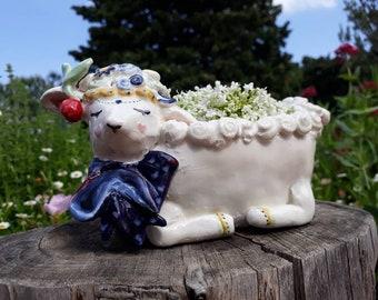 Sheep ceramic flower pot