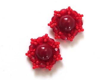 Small stud earrings Tiny earrings Red stud earrings Red small earrings Soutache earring Red post earrings studs red clip on earrings