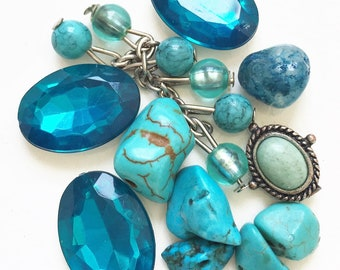 craft lot destash of salvaged sapphire blue and turquoise blue beads and cabochons for repurposing--mixed lot of 11 items
